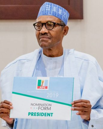 President Buhari receives his nomination form from NCAN