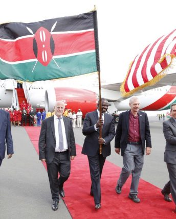 Kenyans celebrate inaugural flight from New York to Nairobi