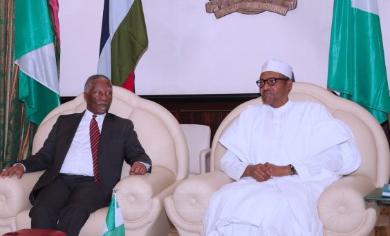 Thabo Mbeki former South African is received by President Buhari in Abuja