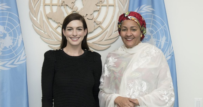 United Nations: Anne Hathaway meets with Amina Mohammed