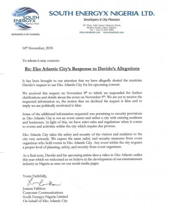 Eko Atlantic replies Davido insists the musician's claims are false
