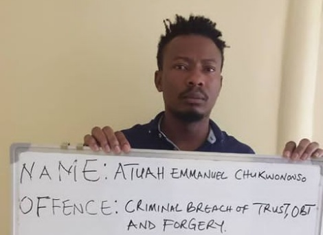 EFCC arraigns one Atuah Chkwunonso for dud cheque