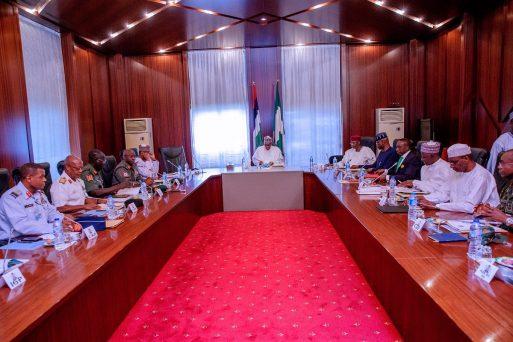 President Muhammadu Buhari, security chiefs meet in Aso Rock