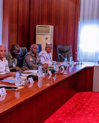 President Buhari chairs security meeting at the State House