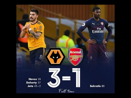 Wolves thump Arsenal 3-1 to deny them the opportunity to go 4th