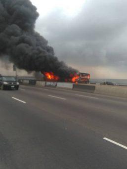 BRT Bus catches fire on Third Mainland Bridge Lagos