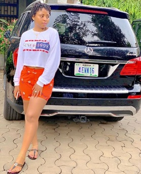 Regina Daniels unveils customised plate number to her new Benz
