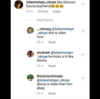 Fans drag Lola Okoye for calling Zion, Aliona's future boyfriend