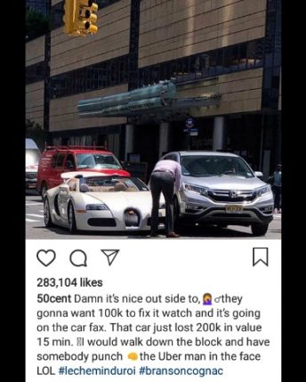 50cent mocks Tracy Morgan after his new $2m Bugatti was smashed