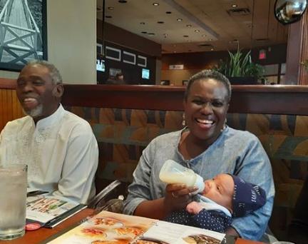 Photos of Joke and Olu Jacobs on grandpa and grandma duties