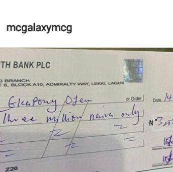 MC Galaxy writes Ubi Franklin N3m cheque to say thank you