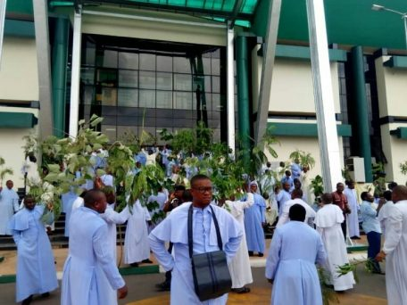 Protest in Enugu over the killing of a Catholic Priest by gunmen