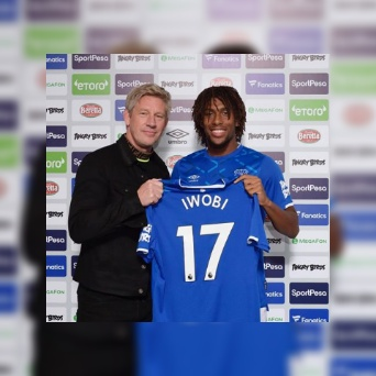 Everton finally unveils Ex-Arsenal midfielder, Alexander Iwobi