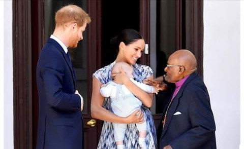 Harry, his wife Meghan Markle and son Archie meet Desmond Tutu