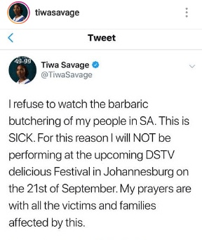 Tiwa Savage Pulls Out of SA Concert Over Xenophobic Attacks