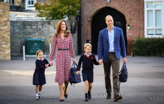 Princess Charlotte arrives at her N8m a year school with her parents