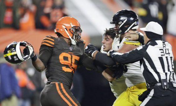 Myles Garrett Losses It, As He Swung Helmet At Mason Rudolph