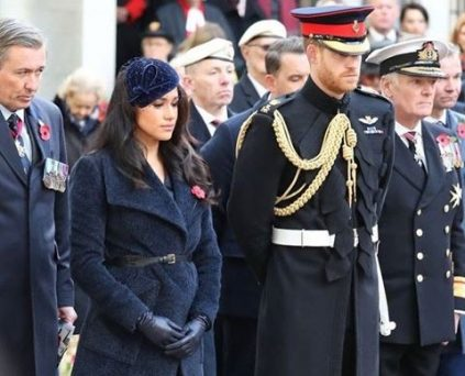 Meghan Markel makes her first visit to the Field of Remembrance Day