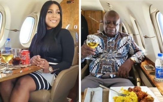 Billionaire blogger, Linda Ikeji, Dad Fly on a Private jet for the first time