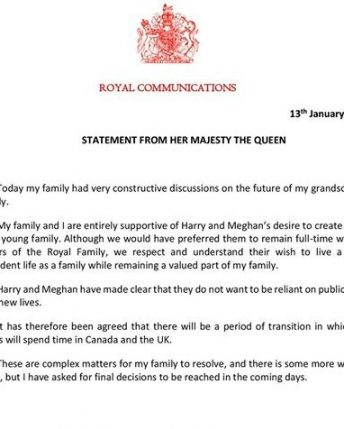 Queen Elizabeth Agrees Transition Period For Harry And Meghan