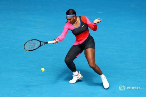 Serena Williams in her first match at the Australian Open, honoured late Olympic Champion FloJo with single-legged catsuit.