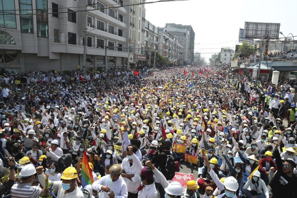 Anti-Coup Protesters Fill Up Roads In Myanmar