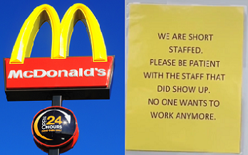 McDonald's Apology Sign Says 'No One Wants To Work'