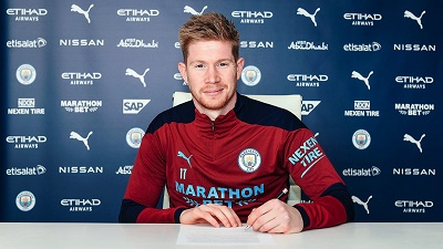 Kevin De Bruyne Signs New 4-Year Contract With Man. City